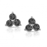 14k White Gold 3-Stone Black Round-Cut Diamond Earrings 0.50 ct. tw.