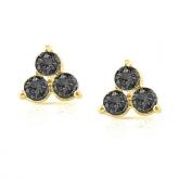 14k Yellow Gold 3-Stone Black Round-Cut Diamond Earrings 0.50 ct. tw.