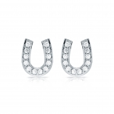 10k White Gold Horseshoe Shaped Round-Cut Diamond Earrings 0.10 ct. tw. (H-I, I1-I2)