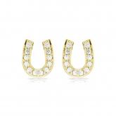 10k Yellow Gold Horseshoe Shaped Round-Cut Diamond Earrings 0.10 ct. tw. (H-I, I1-I2)