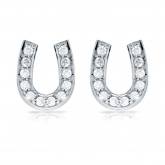 10k White Gold Horseshoe Shaped Round-Cut Diamond Earrings 0.25 ct. tw. (H-I, I1-I2)
