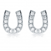 10k White Gold Horseshoe Shaped Round-Cut Diamond Earrings 0.33 ct. tw. (H-I, I1-I2)