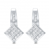 18k White Gold Princess and Baguette-cut Diamond Earrings 1.21 ct. tw. (H-I, SI1-SI2)