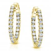 14k Yellow Gold Small Round Diamond Hoop Earrings 0.50 ct.tw. (H-I, SI1-SI2), 0.51-inch (13mm)