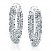 14k White Gold Micro Pave Setting Round Diamond Hoop Earrings 3.50 ct. tw. (H-I, SI1-SI2)