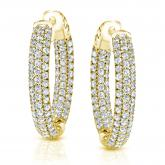 14K Yellow Gold Micro Pave Setting Round Diamond Hoop Earrings 3.50 ct. tw. (H-I, SI1-SI2)