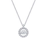 Sparkling Circle Halo Dancing Stone Diamond Pendant