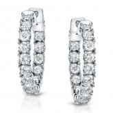 Certified 14K White Gold Medium Round Diamond Hoop Earrings 3.00 ct. tw. (J-K, I1-I2), 0.86-inch (22mm)