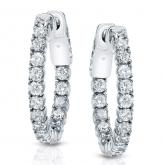 Certified 14K White Gold Medium Round Diamond Hoop Earrings 2.50 ct. tw. (H-I, SI1-SI2), 0.86-inch (22mm)