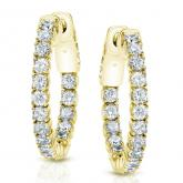 Certified 14K Yellow Gold 22mm Round Diamond Hoop Earrings 2.50 ct. tw. (H-I, SI1-SI2)