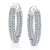 Certified 14K White Gold Pave Round Diamond Hoop Earrings 4.50 ct. tw. (H-I, SI1-SI2)