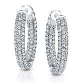 Certified 14K White Gold Medium Pave Round Diamond Hoop Earrings 2.50 ct. tw. (J-K, I1-I2), 0.94-inch (24mm)