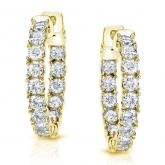 Certified 14K Yellow Gold 22mm Round Diamond Hoop Earring 3.00 ct. tw. (J-K, I1-I2)