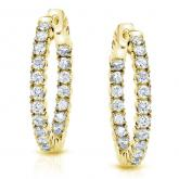 Certified 14K Yellow Gold Small Round Diamond Hoop Earrings 0.50 ct. tw. (J-K, I2-I3), 0.50-inch (12.7mm)