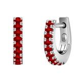Certified 14k White Gold Round-cut Ruby Gemstone Hoop Earrings 0.18 ct. tw.