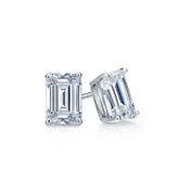Certified 14k White Gold 4-Prong Basket Emerald Cut Diamond Stud Earrings 0.50 ct. tw. (G-H, VS1-VS2)