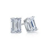 Certified 14k White Gold 4-Prong Basket Emerald Cut Diamond Stud Earrings 0.62 ct. tw. (I-J, I1)