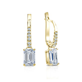 Certified 18k Yellow Gold Dangle Studs 4-Prong Basket Emerald Cut Diamond Earrings 1.00 ct. tw. (I-J, I1)