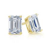 Certified 18k Yellow Gold 4-Prong Basket Emerald Cut Diamond Stud Earrings 1.00 ct. tw. (I-J, I1-I2)