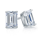 Certified 18k White Gold 4-Prong Basket Emerald Cut Diamond Stud Earrings 1.50 ct. tw. (I-J, I1-I2)