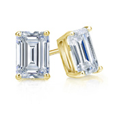 Certified 14k Yellow Gold 4-Prong Basket Emerald Cut Diamond Stud Earrings 1.50 ct. tw. (I-J, I1-I2)