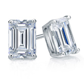 Certified 18k White Gold 4-Prong Basket Emerald Cut Diamond Stud Earrings 2.00 ct. tw. (G-H, VS1-VS2)