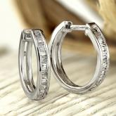 Certified 10K White Gold Baguette Diamond Huggy Hoop Earrings 0.27 ct. tw. (H-I, I1-I2)