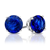 14k White Gold 4-Prong Basket Round Blue Sapphire Gemstone Stud Earrings 1.50 ct. tw.