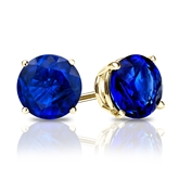 18k Yellow Gold 4-Prong Basket Round Blue Sapphire Gemstone Stud Earrings 0.25 ct. tw.