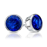 14k White Gold Bezel Round Blue Sapphire Gemstone Stud Earrings 1.50 ct. tw.
