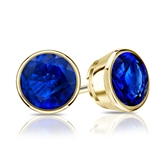 18k Yellow Gold Bezel Round Blue Sapphire Gemstone Stud Earrings 0.25 ct. tw.