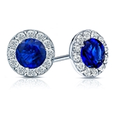 14k White Gold Halo Round Blue Sapphire Gemstone Earrings 0.50 ct. tw.
