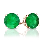 14k Rose Gold 4-Prong Basket Round Green Emerald Gemstone Stud Earrings 0.33 ct. tw.