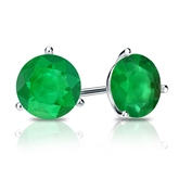 18k White Gold 3-Prong Martini Round Green Emerald Gemstone Stud Earrings 0.75 ct. tw.