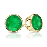 18k Yellow Gold Bezel Round Green Emerald Gemstone Stud Earrings 1.50 ct. tw.