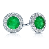 Platinum Halo Round Green Emerald Gemstone Earrings 1.50 ct. tw.