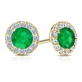 14k Yellow Gold Halo Round Green Emerald Gemstone Earrings 1.00 ct. tw.