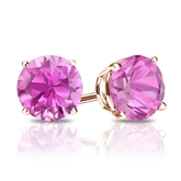 14k Rose Gold 4-Prong Basket Round Pink Sapphire Gemstone Stud Earrings 0.25 ct. tw.