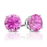 18k White Gold 4-Prong Basket Round Pink Sapphire Gemstone Stud Earrings 0.50 ct. tw.