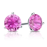 14k White Gold 3-Prong Martini Round Pink Sapphire Gemstone Stud Earrings 1.00 ct. tw.