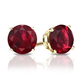 18k Yellow Gold 4-Prong Basket Round Ruby Gemstone Stud Earrings 1.50 ct. tw.