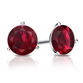 18k White Gold 3-Prong Martini Round Ruby Gemstone Stud Earrings 1.00 ct. tw.
