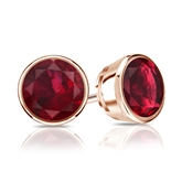14k Rose Gold Bezel Round Ruby Gemstone Stud Earrings 0.50 ct. tw.