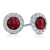 18k White Gold Halo Round Ruby Gemstone Earrings 0.75 ct. tw.
