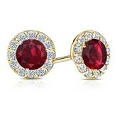 18k Yellow Gold Halo Round Ruby Gemstone Earrings 0.75 ct. tw.
