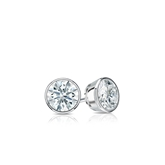 Certified 14k White Gold Bezel Hearts & Arrows Diamond Stud Earrings 0.25 ct. tw. (H-I, I1-I2)