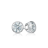 Certified 14k White Gold Bezel Hearts & Arrows Diamond Stud Earrings 0.33 ct. tw. (H-I, I1-I2)