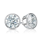 Certified 14k White Gold Bezel Hearts & Arrows Diamond Stud Earrings 1.25 ct. tw. (H-I, I1-I2)