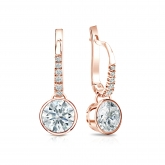 Certified 14k Rose Gold Dangle Studs Bezel Hearts & Arrows Diamond Earrings 1.50 ct. tw. (H-I, I1-I2)