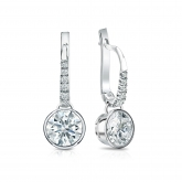 Certified 18k White Gold Dangle Studs Bezel Hearts & Arrows Diamond Earrings 1.50 ct. tw. (F-G, VS1-VS2)
